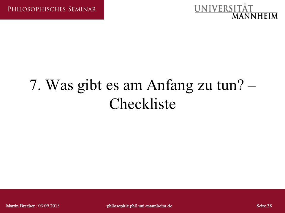 7. Was gibt es am Anfang zu tun –Checkliste