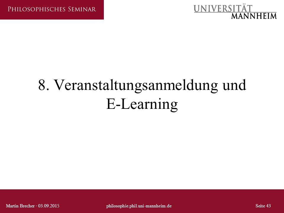 8. Veranstaltungsanmeldung und E-Learning