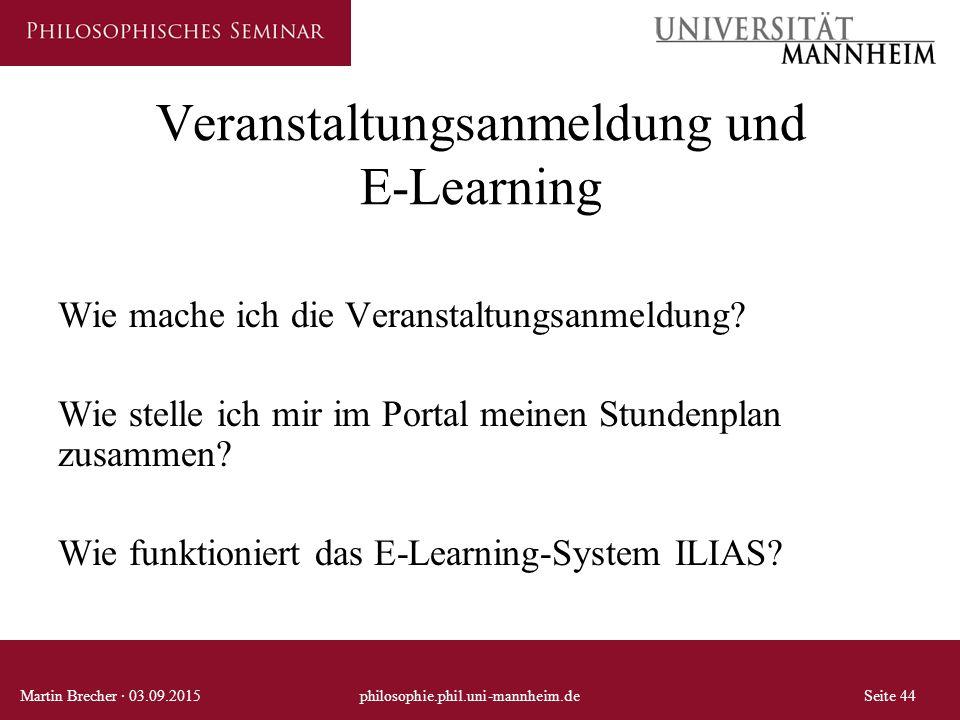 Veranstaltungsanmeldung und E-Learning