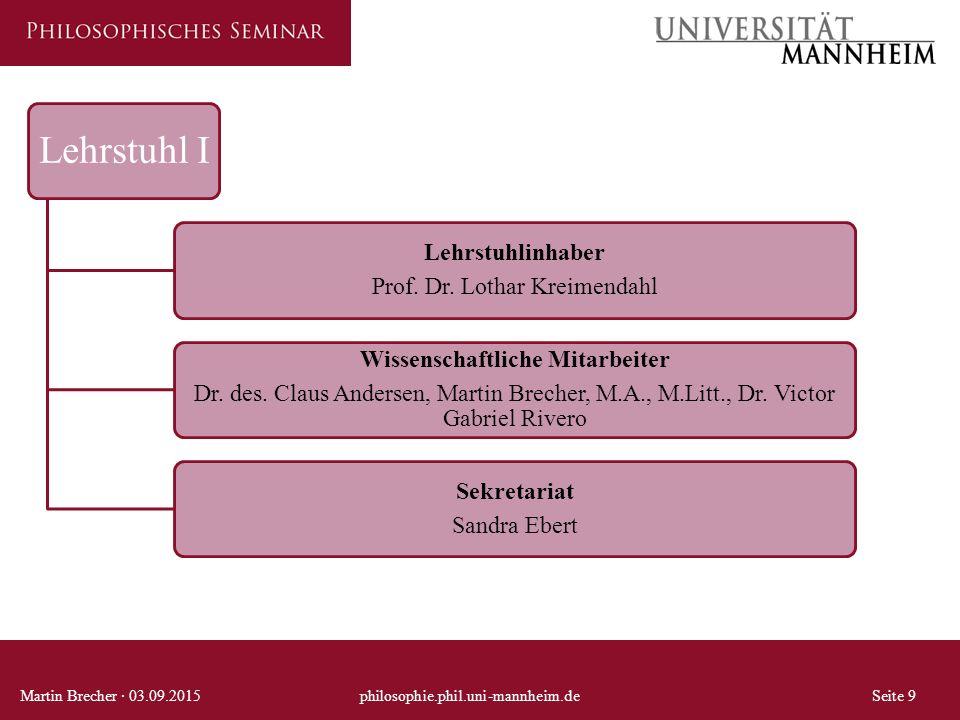 Lehrstuhl I Lehrstuhlinhaber Prof. Dr. Lothar Kreimendahl