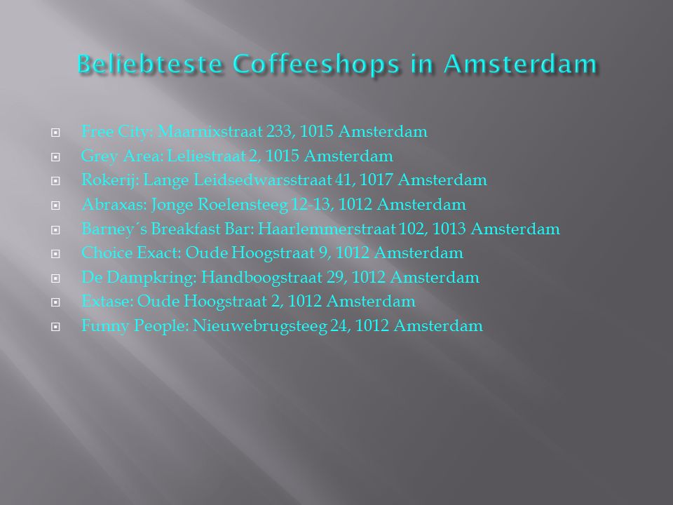 Beliebteste Coffeeshops in Amsterdam