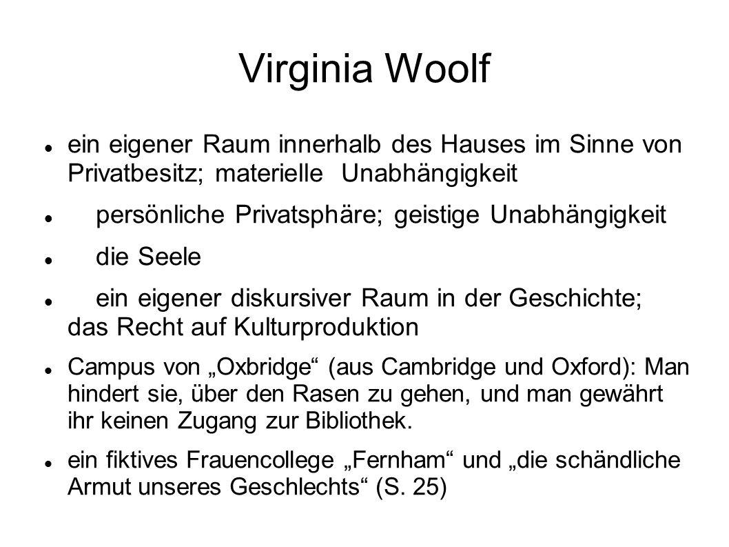 Virginia Woolf ein eigener Raum innerhalb des Hauses im Sinne von Privatbesitz; materielle Unabhängigkeit.