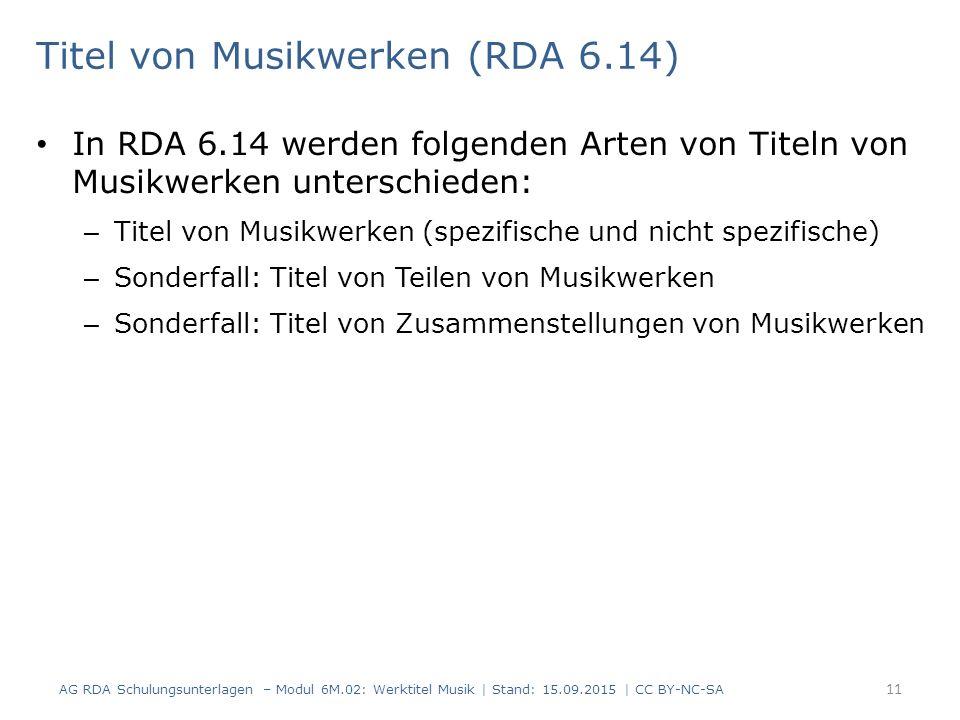 Titel von Musikwerken (RDA 6.14)