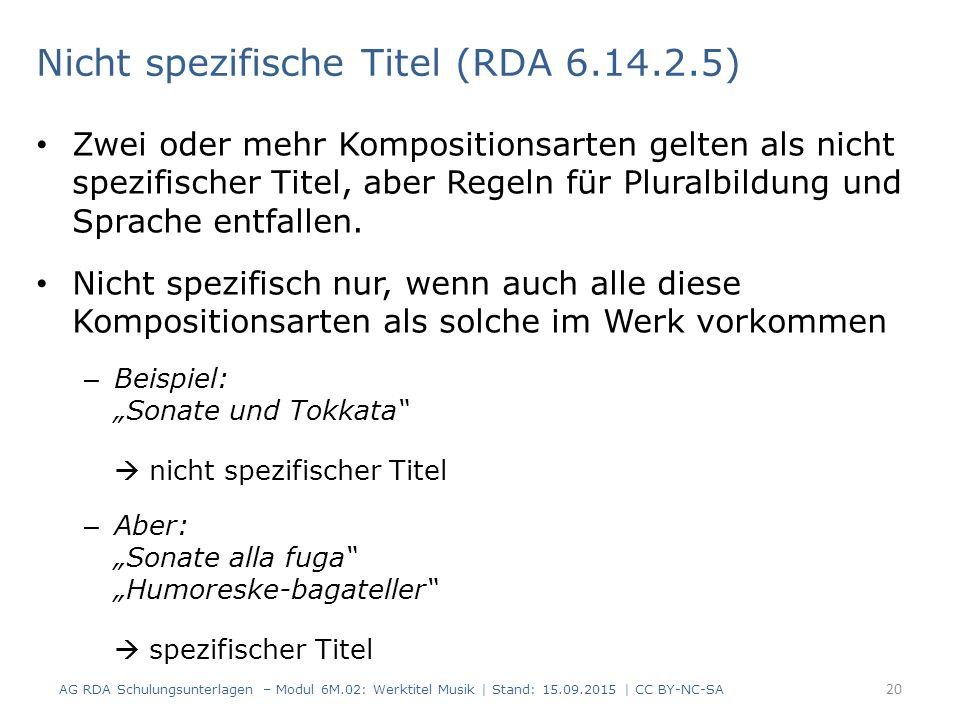 Nicht spezifische Titel (RDA 6.14.2.5)