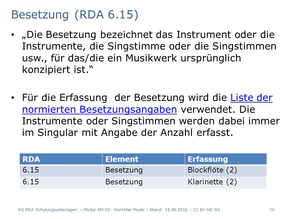 Besetzung (RDA 6.15)
