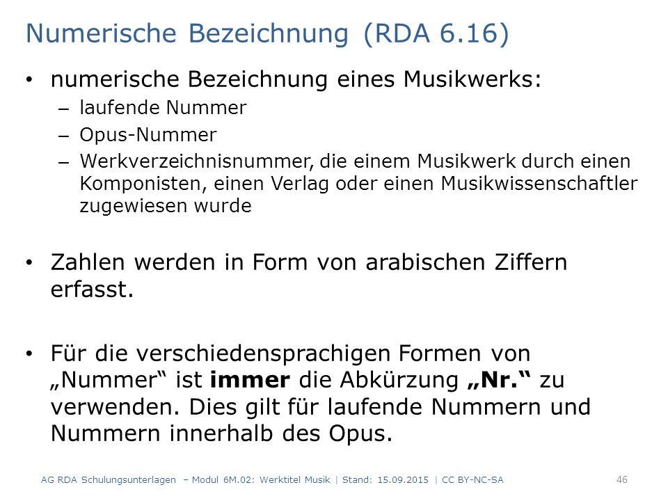 Numerische Bezeichnung (RDA 6.16)