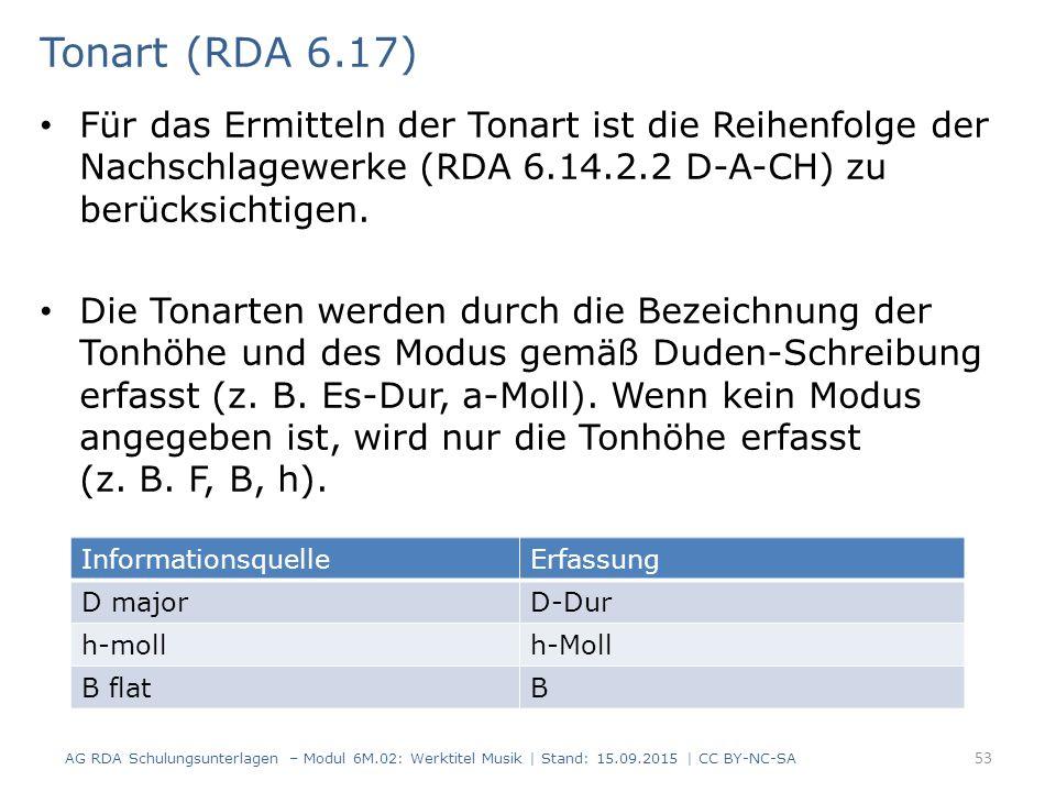 Tonart (RDA 6.17) Für das Ermitteln der Tonart ist die Reihenfolge der Nachschlagewerke (RDA 6.14.2.2 D-A-CH) zu berücksichtigen.