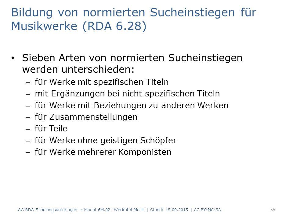 Bildung von normierten Sucheinstiegen für Musikwerke (RDA 6.28)