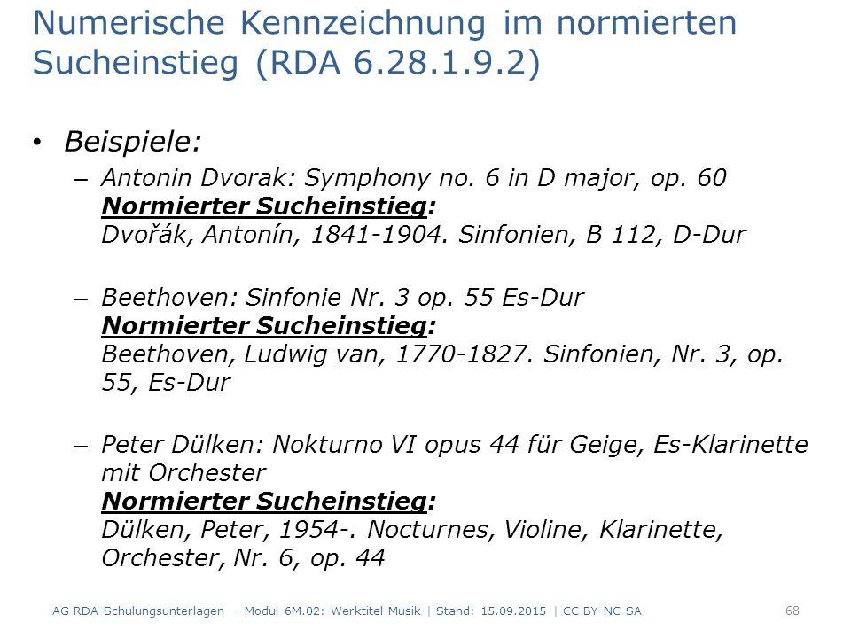 Numerische Kennzeichnung im normierten Sucheinstieg (RDA 6.28.1.9.2)