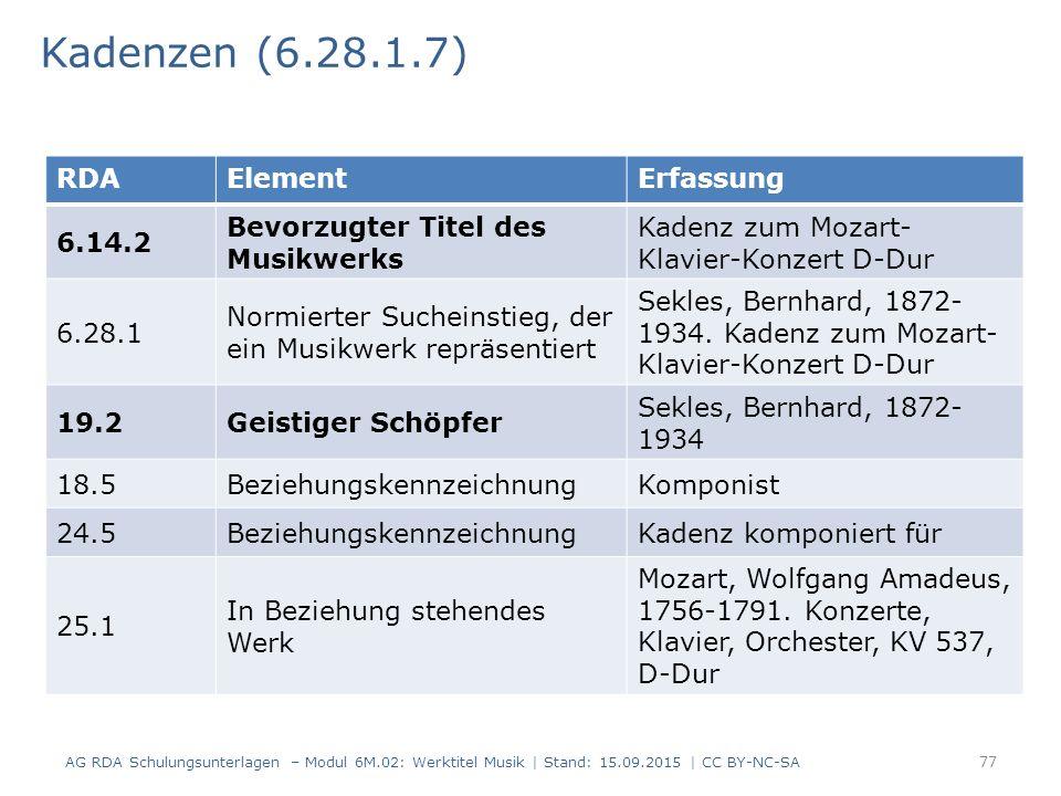 Kadenzen (6.28.1.7) RDA Element Erfassung 6.14.2
