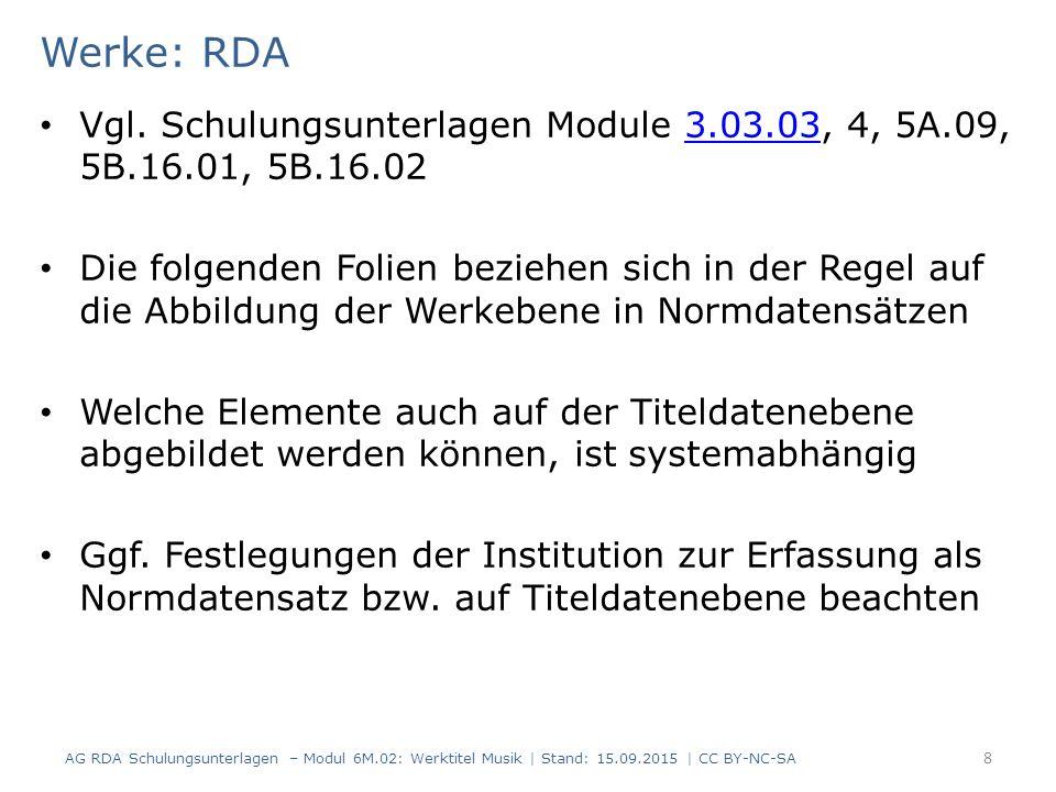 Werke: RDA Vgl. Schulungsunterlagen Module 3.03.03, 4, 5A.09, 5B.16.01, 5B.16.02.