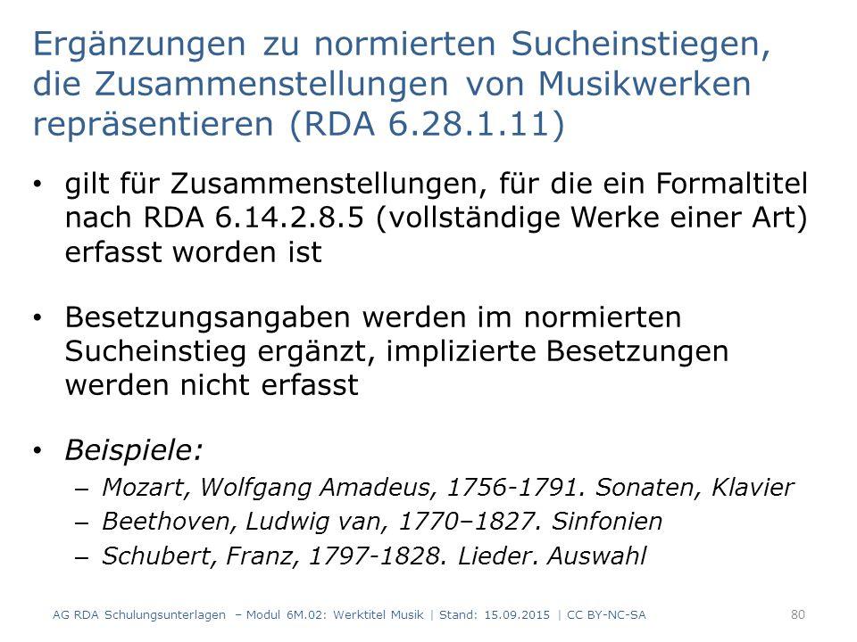 Ergänzungen zu normierten Sucheinstiegen, die Zusammenstellungen von Musikwerken repräsentieren (RDA 6.28.1.11)