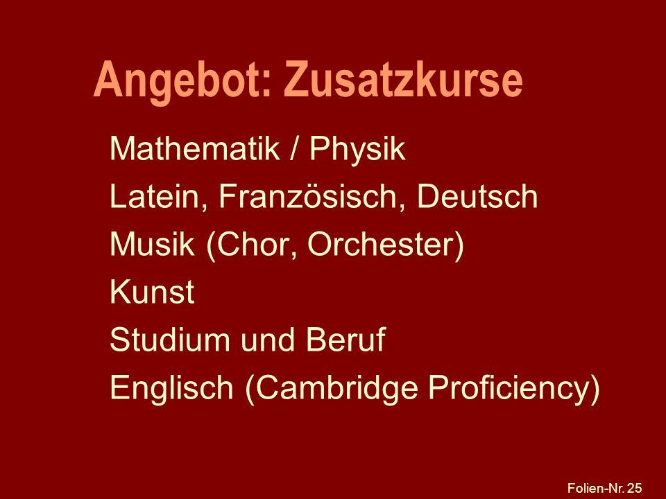 Angebot: Zusatzkurse Mathematik / Physik Latein, Französisch, Deutsch