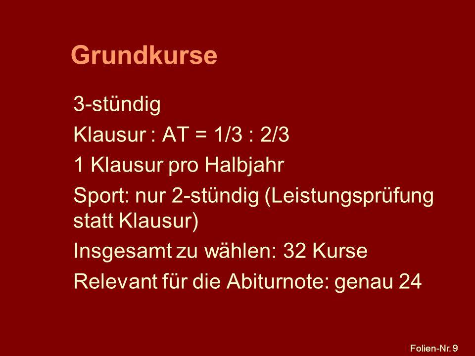 Grundkurse 3-stündig Klausur : AT = 1/3 : 2/3 1 Klausur pro Halbjahr