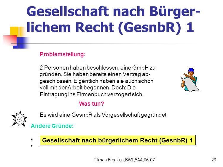 Gesellschaft nach Bürger-lichem Recht (GesnbR) 1