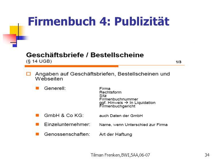 Firmenbuch 4: Publizität