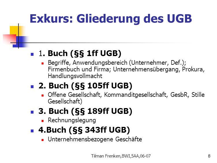 Exkurs: Gliederung des UGB