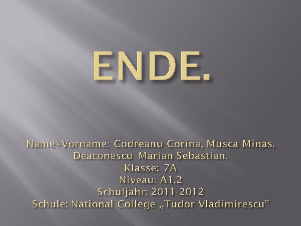 ENDE. Name+Vorname: Codreanu Corina, Musca Minas, Deaconescu Marian Sebastian.