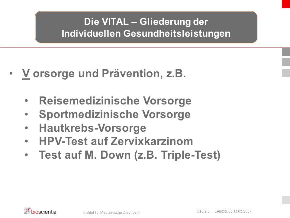 Die VITAL – Gliederung der Individuellen Gesundheitsleistungen