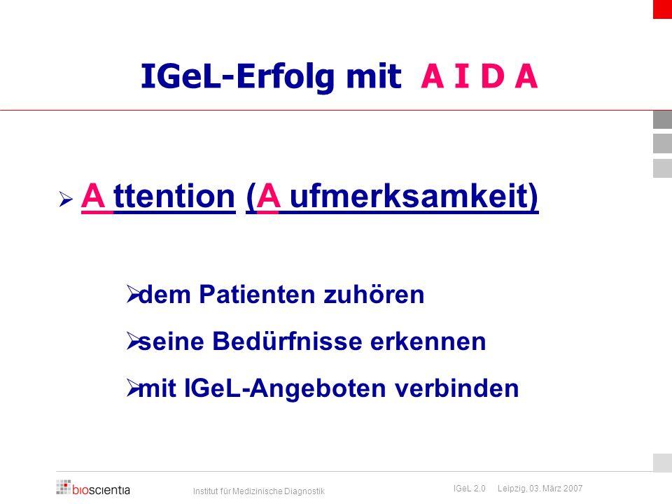 IGeL-Erfolg mit A I D A dem Patienten zuhören