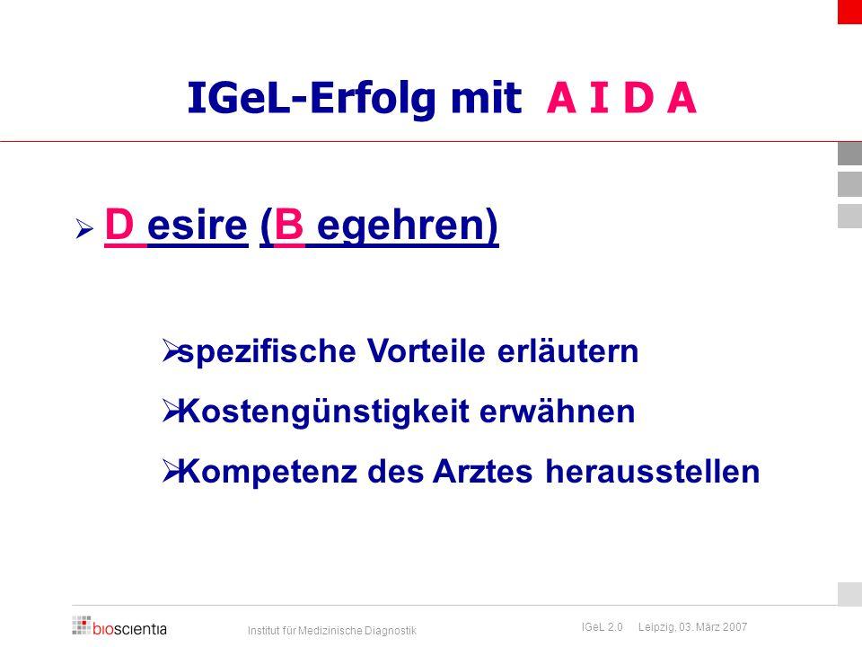 IGeL-Erfolg mit A I D A spezifische Vorteile erläutern