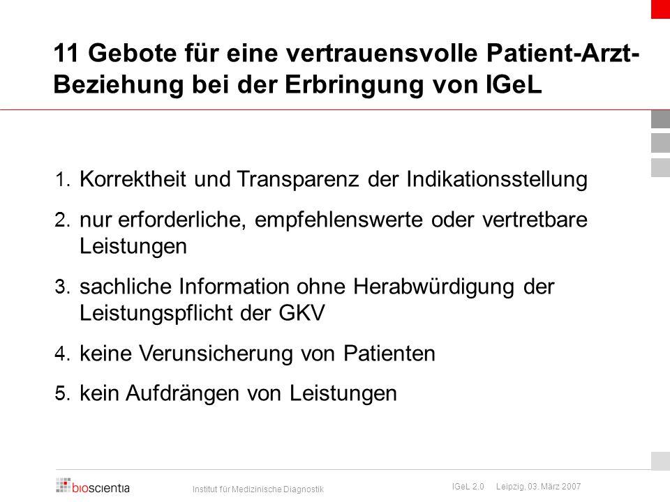 11 Gebote für eine vertrauensvolle Patient-Arzt-Beziehung bei der Erbringung von IGeL