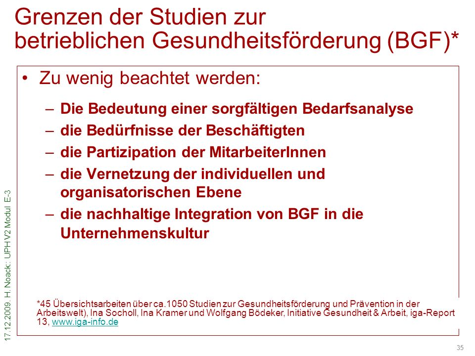Grenzen der Studien zur betrieblichen Gesundheitsförderung (BGF)*