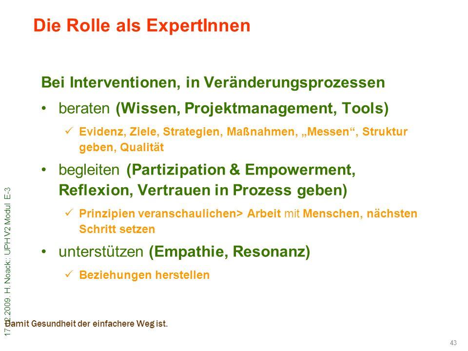 Die Rolle als ExpertInnen