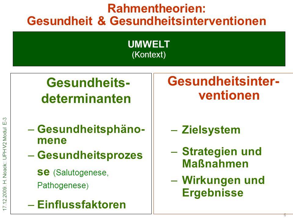 Rahmentheorien: Gesundheit & Gesundheitsinterventionen