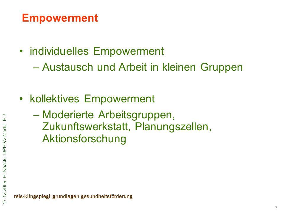 individuelles Empowerment Austausch und Arbeit in kleinen Gruppen