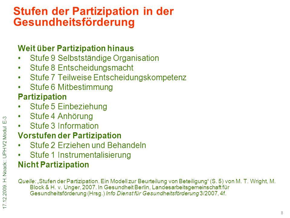 Stufen der Partizipation in der Gesundheitsförderung