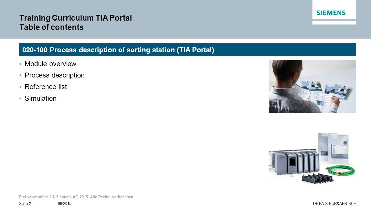 Training Curriculum TIA Portal Table of contents