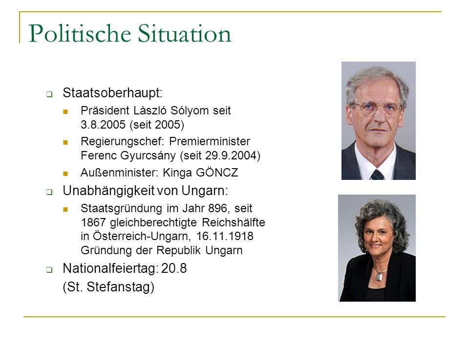 Politische Situation Staatsoberhaupt: Unabhängigkeit von Ungarn: