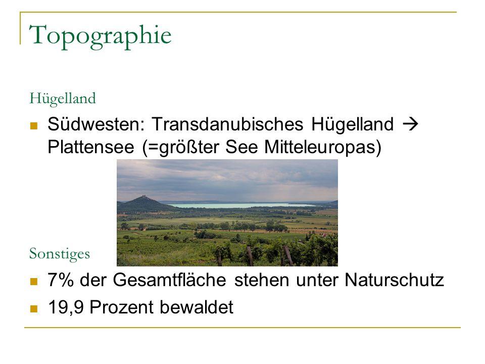 Topographie Hügelland. Südwesten: Transdanubisches Hügelland  Plattensee (=größter See Mitteleuropas)