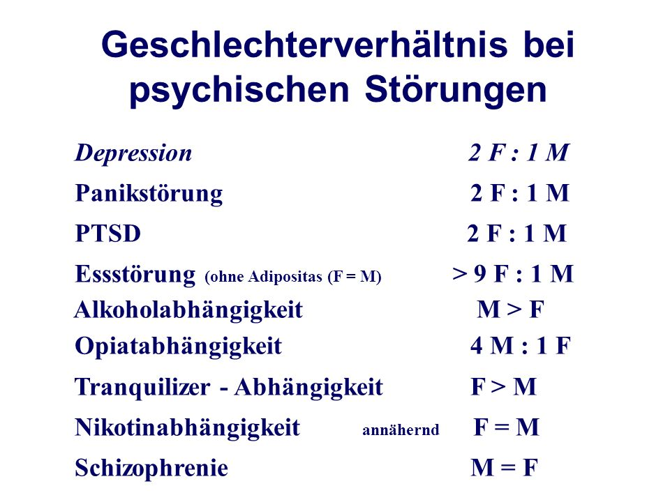 Geschlechterverhältnis bei psychischen Störungen