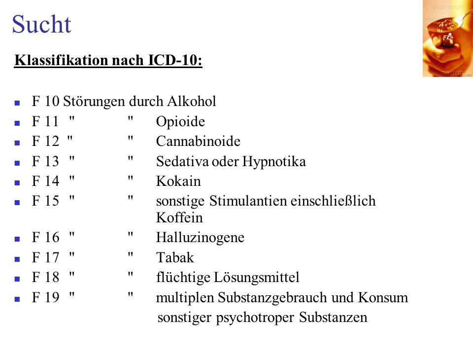 Sucht Klassifikation nach ICD-10: F 10 Störungen durch Alkohol