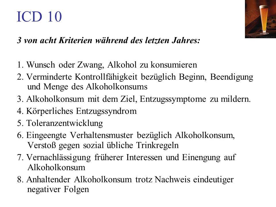 ICD 10 3 von acht Kriterien während des letzten Jahres: