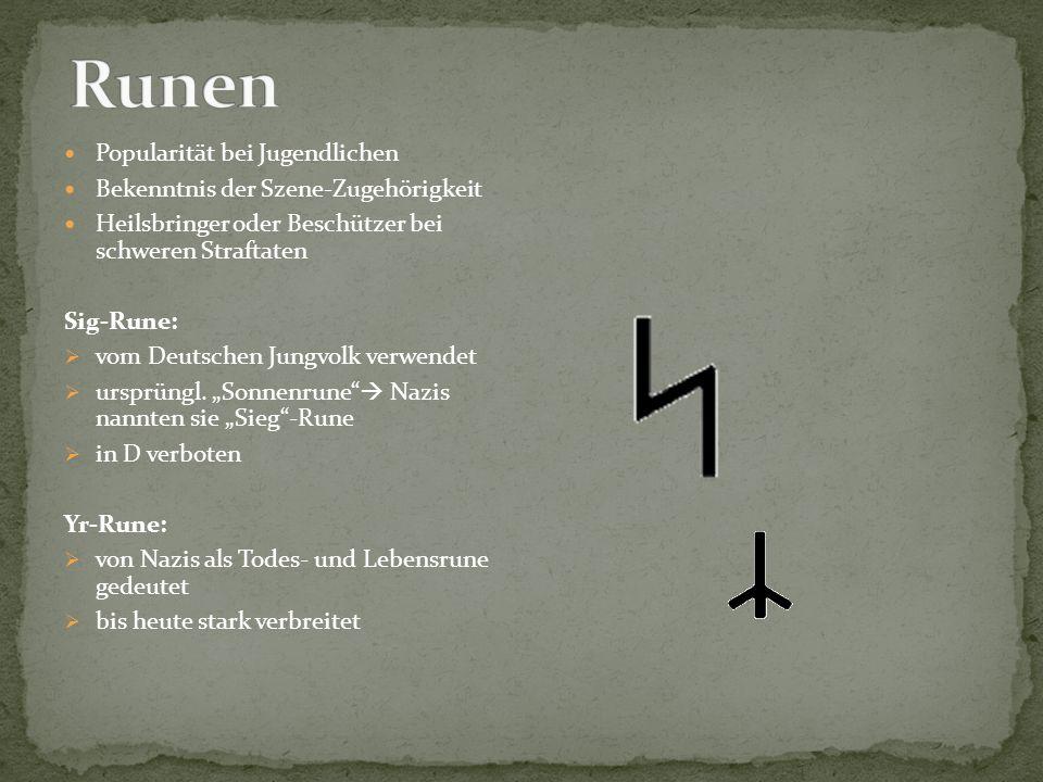 Runen Popularität bei Jugendlichen Bekenntnis der Szene-Zugehörigkeit