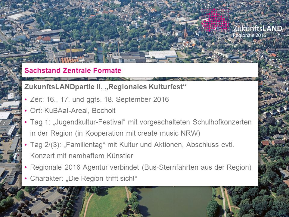 Sachstand Zentrale Formate