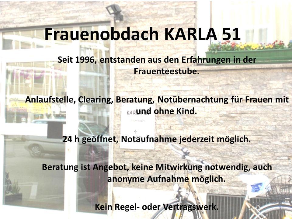 Frauenobdach KARLA 51 Seit 1996, entstanden aus den Erfahrungen in der Frauenteestube.