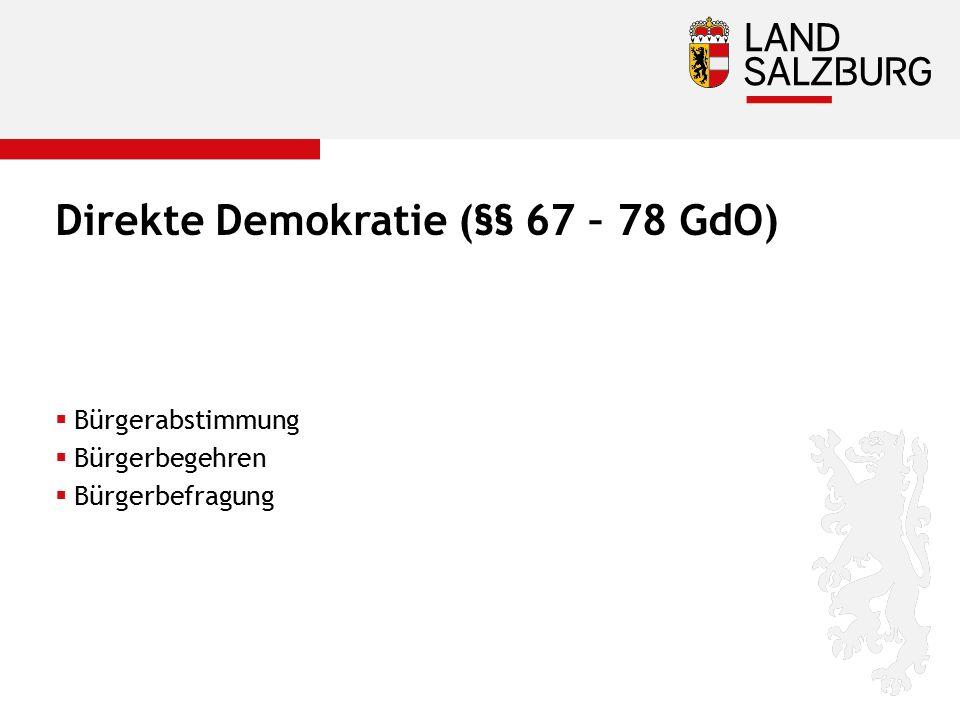 Direkte Demokratie (§§ 67 – 78 GdO)