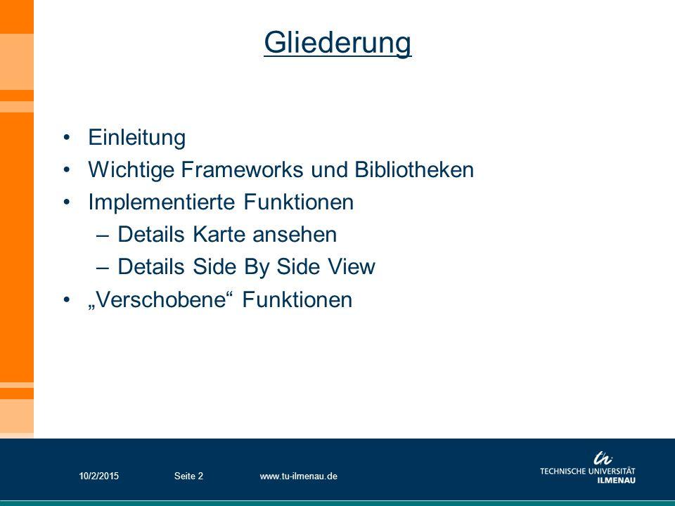 Gliederung Einleitung Wichtige Frameworks und Bibliotheken