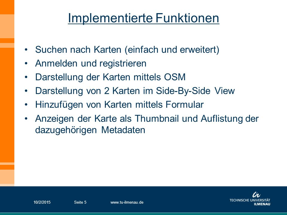 Implementierte Funktionen