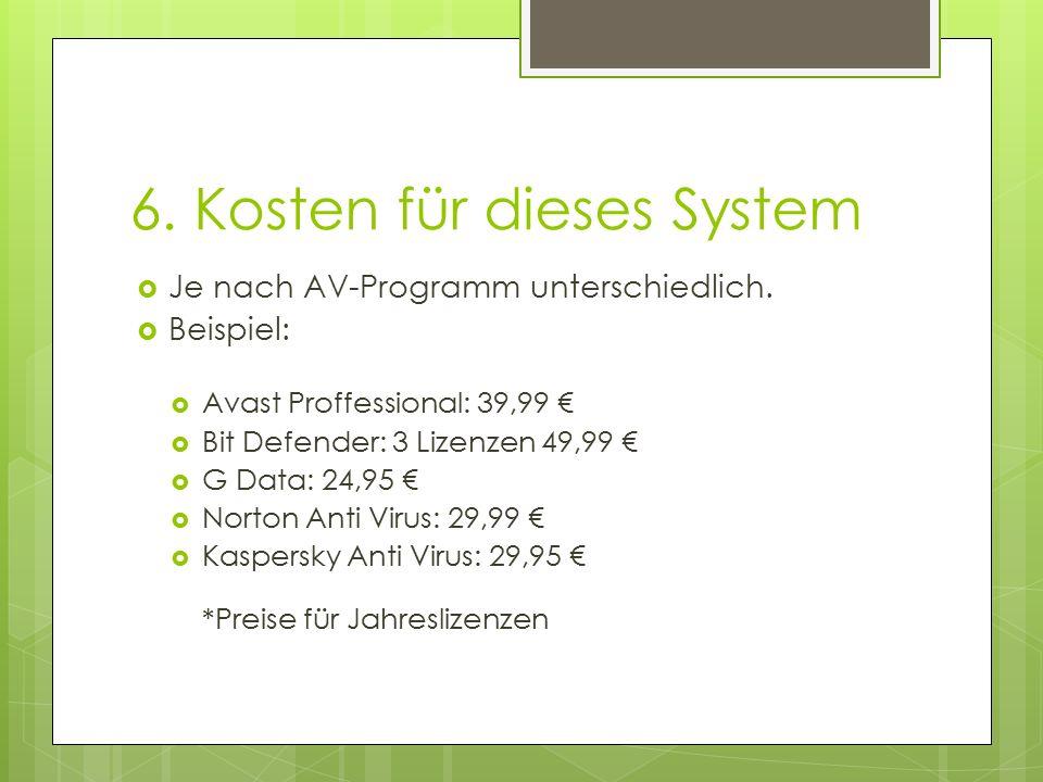 6. Kosten für dieses System