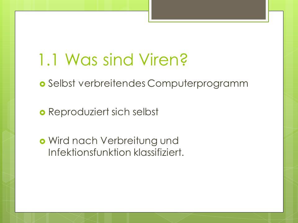 1.1 Was sind Viren Selbst verbreitendes Computerprogramm