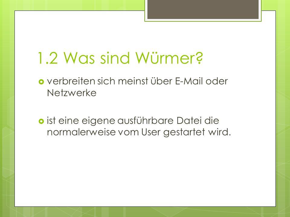 1.2 Was sind Würmer verbreiten sich meinst über E-Mail oder Netzwerke