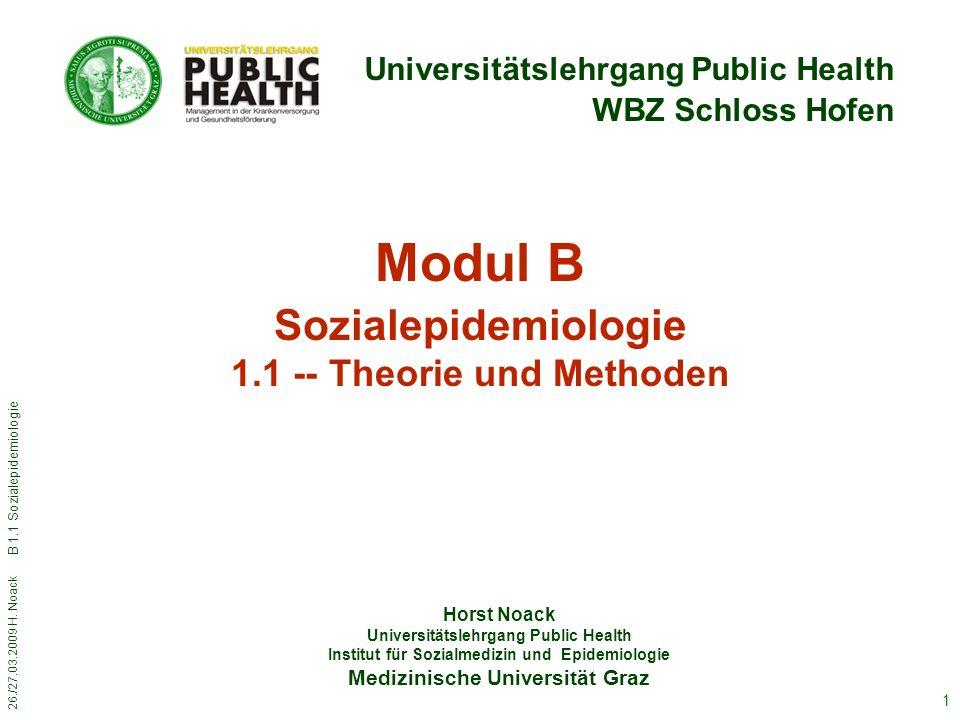 Modul B Sozialepidemiologie 1.1 -- Theorie und Methoden