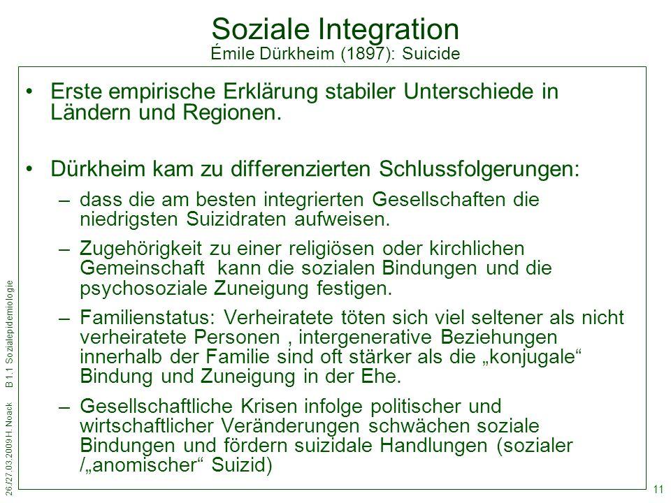 Soziale Integration Émile Dürkheim (1897): Suicide