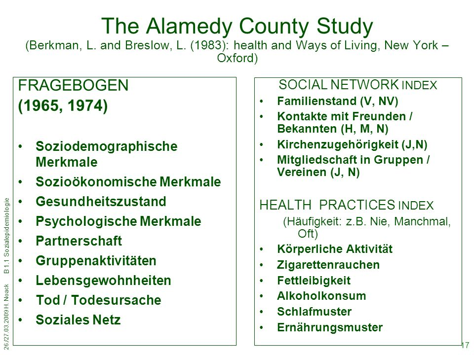The Alamedy County Study (Berkman, L. and Breslow, L