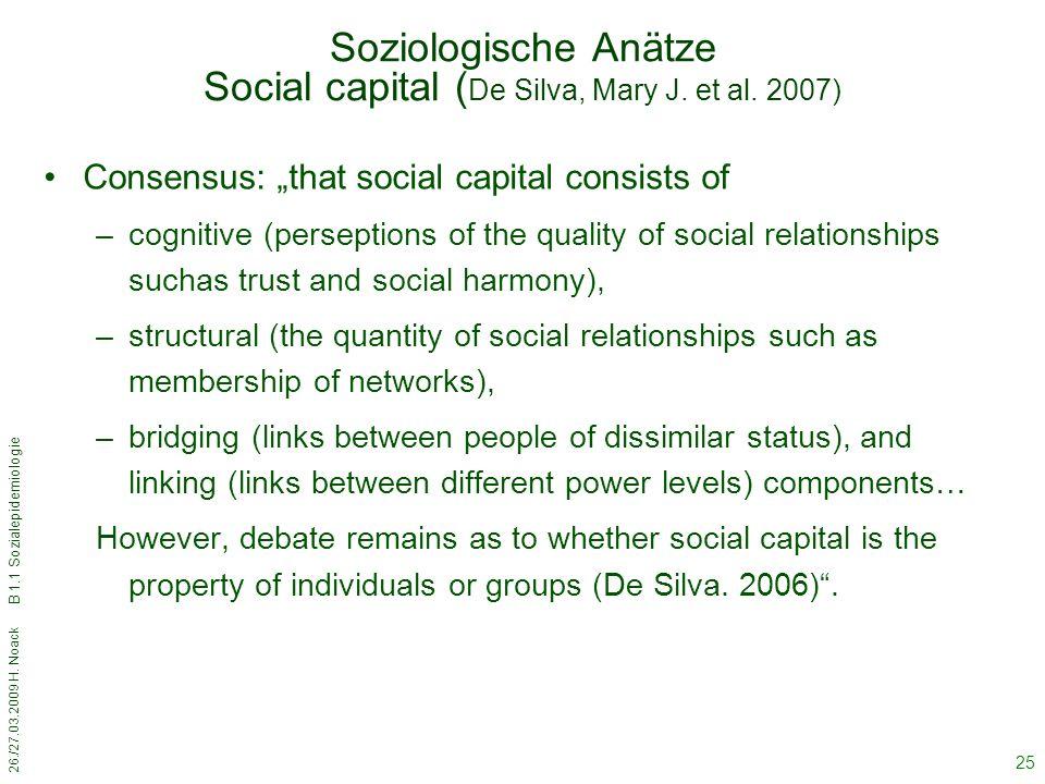 Soziologische Anätze Social capital (De Silva, Mary J. et al. 2007)